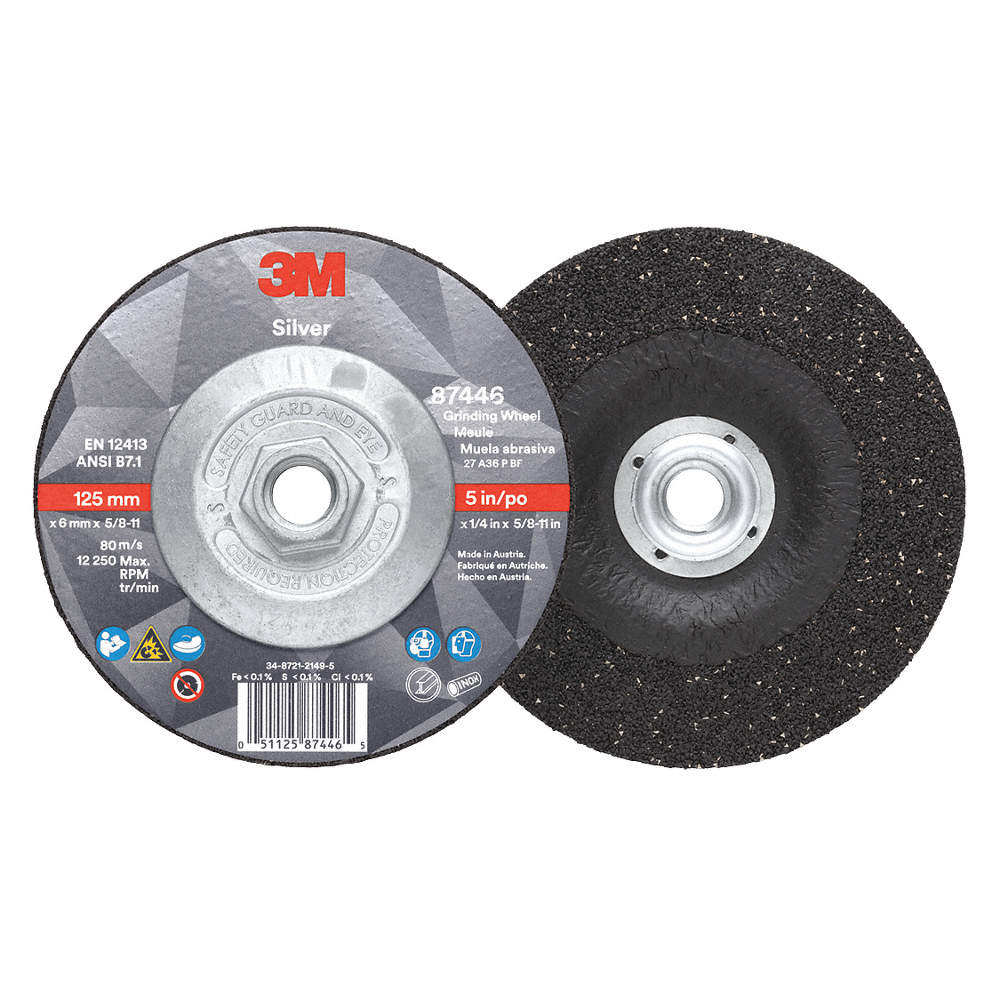 87446-Silver Depressed Ctr Grinding Wheel, Type 27 Quick Change