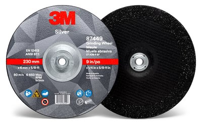 87449-Silver Depressed Ctr Grinding Wheel, Type 27 Quick Change